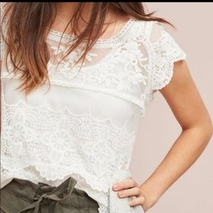 Antropologie Blue Tassel Lace top